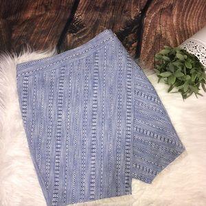 LOFT   Chambray Fringe Split front mini skirt